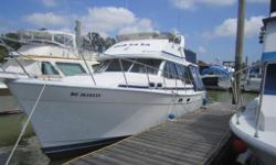3218 Bayliner 1988 This is a 32' Bayliner flybridge sedan. She is powered by twin 135 diesel Hino's inboards. There's sleeping for four to six owners and guests in 3 areas including a large mid cabin master stateroom with a king size bed and vanity. A