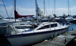 "Fast modern, European designed, aft cabin cruiser/racer. She is very beamy (9'7"") with the beam carried well aft. The interior has a lot of room for a 25 foot boat and the clever design allows for a very long, comfortable cockit, wide side decks and a"