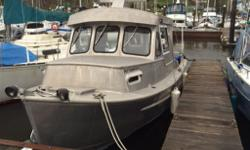 Custom welded aluminum boat based on an East Coast lobster design.Outfitted with radar,depth sounder, gps nav, stereo, wipers, galley, head, dickinson propane heater, cuddy cabin , gauges etc.225 yamaha 4 stroke. Assumable moorage at the Gibsons Marina.