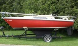 1980 665 Edel 22ft sailboat, 9hp mariner , sleeps 4, sink, stove , toilet, sails. Comes with trailer.