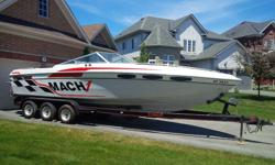 WHOLE FAMILY FUN 1989 Mach 1 Concoers, 27.5 feet with TWIN Factory Class Mercruiser 454 Magnum engines and Bravo 1 Drives. Only 421 hours on motors. Custom Stainless Steel 4 blade props Eagle Tri-axle trailer, aluminum rims and independent hydraulic