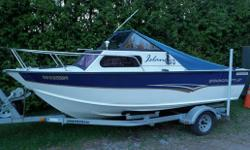 There are a lot of great features on this boat; 135Hp Mercruiser 4 cyl. (cheap to operate)with Alpha drive, dual batteries w/selector switch, spare prop,hydraulic trim tabs,trolling plate, swim ladder/platform,Walker electric downriggers, live well/circ