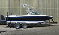 Propulsion: Indmar 5.7L 325 HP Includes Dual Batteries with Perko switch, Perfect Pass, wakeboard pro w/gps, built in cooler, Spinner Roswell wakeboard racks, Roswell light bar with 4 Wetsound tower speakers, Gravity Games Ballast Package, 1,400 LBS built