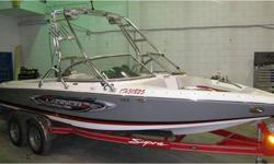 This unit is nicely equipped, 5.7L Indmar 340 H.P, Perfect Pass, rear ballast, wake plate, play pen bow, heater tower, speakers with tower lights, wakeboard racks, bow & cockpit cover. 200hrs     Sorry this boat is SOLD... we have trades coming and going