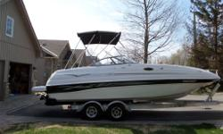 The ultimate deck boat-bow rider combo. Smart Craft Merc 350 Mag MPI with Bravo 3 twin prop outdrive. Seats 14 with enclosed change room and porto potty. large bimini top and two piece mooring cover.. Water sports dream and fisherman's love... Front and