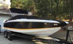 Pristine, one-owner Cobalt 220 with Cobalt trailer for sale in Kelowna B.C. We are the original owners. If you're looking for a boat, you'll know that Cobalt is known for it's high-end luxury build quality. Boat has Black gelcoat with yellow accent line.