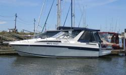 This Mid-Cabin family cruiser with expansive interior accommodation, has a solid fiberglass & hull design that insures a stable ride. The floor plan is arranged with double berths in two staterooms, a full size convertible dinette, a complete galley and a