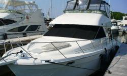 One of Bayliner's all-time best selling motor yachts- the 3988 is a beautiful and spacious, blue-water cruising yacht. Her accomodations below decks feature a master stateroom forward with a centre-island walk-around berth; a port-side guest cabin with a