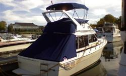 This 1987 Bayliner 3288 Motor Yacht was one of the best-selling flybridge cruisers in the 1980's. The surprisingly spacious interior boasts an expansive salon with large windows and a standard lower helm. *Preliminary specifications - more details to
