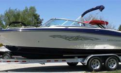 Just In! One of a kind sapphire hull colour!! 2013 Monterey 224FS powered with a MerCruiser 5.0MPI. Boat package comes complete with: Pearl Exterior w/ Sapphire Hull Bottom (ONE OF A KIND!), Woven Cockpit Flooring, Convenience Package (Depth Sounder,