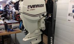 Full line up of Evinrude ETEC outboard motors available. Shown here is the ETEC-90, ETEC-130 and ETEC-150. We also carry the low-HP trolling motors in various sizes / shaft-lengths and HP. Call or email for more info!