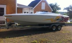 2002 Baja 25 Outlaw Mercury 496HO (425HP+) computer upgrade, new plugs, wires, K&N filter, raw water pump and fluids, Custom engine cover, Bravo 1 with SS lab prop, Thru Hull with silent choice, Fire suppression, trim tabs, dual Interstate batteries,
