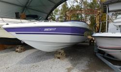 Beautiful Muskoka boat. This boat features the Outlaw graphics, Captain call exhaust, tilt helm, custom steering wheel, side water pickup (for bravo drives), large K panels with indicators, fire extinguisher, compass, depth sounder, snap in carpets, rub