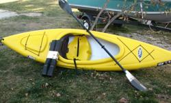 Used a few times mint cond., comes with paddle and 'NEW' car top carrier kit. $300 Ph.# 705-969-9037