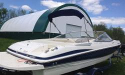 Bought new in 2009, Only 55 hours. 260hp 5.0L Mercury factory extended warranty until summer 2017. Fast, Fun boat, lots of room, stereo, sport seating, bimini top, custom trailer, 2' swim platform, depth finder & water temp gauge. Life jackets, inflatable