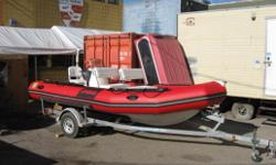 This boat is ready for next season...... The package includes: Zodiac Pro 12 Man, red, Yamaha Four stroke 90 HP Jet (60 HP at prop), console, two benches, one pedestal seat, galvanized EZ loader trailer, boat cover, completely rigged. Pro 12 Man: (2010)