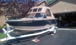 1900 Pro Sport Made in Canada model year 2000 This boat is a turn key ready for salmon fishing beauty . It is in very good condition and is a single owner boat used mainly in lake Ontario for Salmon trolling Length 18?11? Beam 90? Transom 20? 40 gallon
