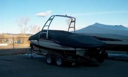 SHE IS A FRESHWATER BOAT WITH ONLY 101 HRS, INCLUDES: MERCRUISER 6.2 MOTOR, BRAVE lll DRIVE, COMPASS, FULL GAUGE PACKAGE, TILT STEERING, COCKPIT SINK, 2 BOSTER BUCKET SEATS AND U-SHAPE SEATING IN AFT, WAKEBOARD TOWER W/RACKS, AM/FM STEREO W/ CD PLAYER,