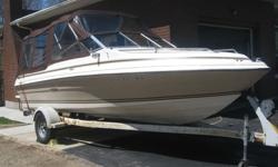 1984 -19' SeaRay Cuddy with 140 hp mercruiser, new top and interior 2012, Garmin fish/depth finder, needs new battery and ignition switch, complete with Shorelander trailer