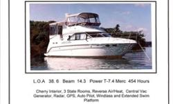 This boat new in 2000. cherry interior, 3 state rooms, reverse air/ heat, generator, radar, GPS, auto pilot, windlass, extended swim platform, new vinyl and spare set of props. This boat is in excellent condition and must be seen.