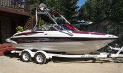For sale is an original owner, like new 2006 Crownline 200 LS Razor (21 feet long). The boat has been meticulously maintained, stored in a garage in the winter, always on a covered boat lift during the summer, synthetic oils always used and all of the