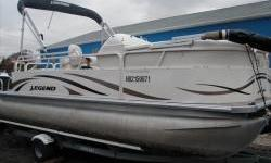 This Legend Pontoon is Optioned with The Following: 60 hp Mercury Fourstroke Outboard, Fish Finder, Double Bimini Top, Carpeted floor, Rear Sun Lounge, Stereo System Engine(s): Fuel Type: Gas Engine Type: Other Quantity: 1