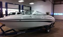 this sporty little bowrider is powerered by the 190 hp v6 mecruiser i/o. the package includes a custom fitted trailer a cockpit and bow cover as well as a bimini top. very clean condition inside and out. not equiped with and hour meter so i can't give an