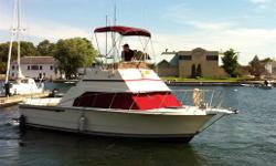 Twin 350 Straight inboards with closed cooling system.  Very well maintained and in good condition.  Lots of windows to bring in a lot of sunlight.  Exterior is very spacious, fishing rod holders, seating, live well.  FlyBridge is in very nice condition,