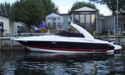 This sharp 30ft Monterey Sports Cruiser is in pristine condition wIth low 390 hours. White, Black w Red Pin Stripe, It definitely stands out in the water! This Monterey has been lovingly maintained inside and out and only been in fresh waters. Tons of
