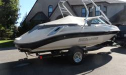 Very Low hours. 50. Runs like new ,twin 215 hp supercharged 4 stroke engines. Plenty of power for cruising , Skiing, etc. Seats 8 passengers comfortably. Handles amazingly. Comes with factory wake tower, mooring covers, bimini top ,snap in carpet, stereo,