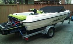 17 ft jetscape with seadoo RTX seating for 8 people. tons of storage. 55mph with boat. CD Lights ski pylon much more