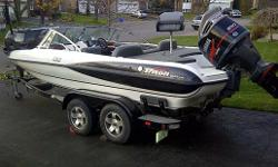 What an amazing boat! A perfect boat for the fisherman who also wants to pull water skiers or tubers. Includes Minn Kotta trolling motor, two fishing seats, onboard battery charges, live well, ski locker, rod locker, bimini top, ski pole, two stainless