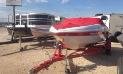 WOW!!! 2013 Glastron MX 185 bow rider with LESS THAN 10 HRS. Eye catching white with red, snap in carpet, 4.3L Merc Cruiser engine, red bimini top, cockpit cover, bow cover, swim platform and more! Comes with matching red trailer. This boat is like new