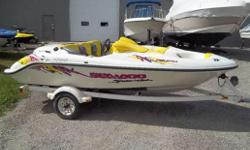 1997 SEADOO �SPEEDSTER�, TWIN 85 HP ROTAX, TRAILER -WHITE, YELLOW, PURPLE COLOR SCHEME � SEATS 5, REAR TRUNK STORAGE, MECHANICALLY SOUND AND IN GOOD CONDITION -BOAT COMES ON TRAILER -RUNS GREAT PULL SKIERS, WAKEBOARD, AND TUBES, 170 HP (TWIN 85 HP