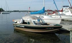 Lund Pro Sport 1600 Adventure Excellent condition. Ideal for fishing or family cruising, 16.5 foot length. Includes 4 seats for 6 locations in boat. Folding ladder for swimming. Lawrence sonar and fish finder with speed and water temperature readings.