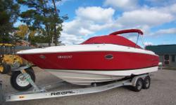 Volvo 5.7 GXI V8, Duo prop drive, two sets of props, stainless steel and aluminum, two tops, shore power, power engine hatch, stereo system, extended swim platform, stepped hull, 200 hours, one owner boat, tandem axle aluminum trailer with surge brakes,