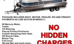 PACKAGE INCLUDES BOAT, MOTOR, TRAILER. PDI AND FREIGHT. **NO HIDDEN CHARGES** PAYMENTS AS LOW AS $156 BI-WEEKLY... Two colors to choose from Black or blue 60 Mercury Motor, Trailer, Tilt Steering, Pop-up Privacy Enclosure, Custom Reclining Helm Seat, Aft