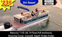Mercury 115hp 4S, Tri-Toon,Full enclosure, Mooring Cover, Livewell, Depth Finder,Full Vinyl, Trailer Get ready, get set, go. Take the leap! The extended deck on the SS230XD makes it a perfect platform from which to refine your swan dive or round out your