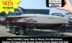 Volvo V8-300SX, Head, Table w/ Mount, Thru Side Exhaust, Windlass, SS Carpet, Deck Sunpad, Camper Canvas, Tandem Axle TrailerSporty good looks and all the amenities you love: that's the beauty of the S235SS! This 23-foot cuddy cabin features revved-up