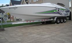 SOLD-VENDU-SOLD-VENDU-NEW PRICE...2005 Baja Outlaw SST 30', twin 496 Mag HO's, 850hp. boat was just serviced at marina.(30-05-2012) all oils just changed in engines and outdrives with filters. Only 61 hours,, trim tabs w/indicators, latham hydrolic