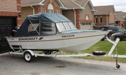 1998 Starcraft 16 foot fishing boat.Boat has been well looked after and is in very good condition.Great on large or small water.75 hp 2 stoke engine,about 15 hours.40 lb minnkota fishing motor.100sx humminbird fish finder.2 batteries.16 gallon