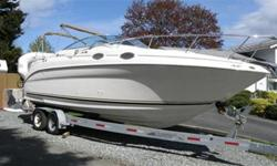 26' searay sundancer with brand new 350 merc seacore power and leg!!!! 3 year warr on this. I will only list the extras : 9.9 high thrust kicker on swimgrid, 10' dingy with2.2 honda kicker,downriggers,trailer,gps,6 pack cd player ,remote steering for