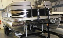 New 2014 Premier Pontoon 220 SunSpree powered with an Evinrude E50 Etec. Boat package comes complete with: Etec Pre-Rig w/ Wtr Separator, Stone Vinyl w/ Onyx Accent, Black Panel, Platinum Canvas, Black Hammered Rails, Docking Lights, Aux MP3 USB Port,