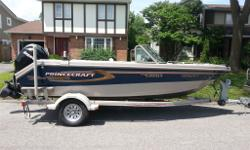 "The boat is a 2007 Princecraft 176 Fish and Ski with a 115 Merc 4 stroke. 17'6"" in length, beam of 87"". In excellent condition, always stored indoors.The options from Princecraft included were: 1. bow cushions 2. bow bicycle seat 3. ski pilon 4. stern"