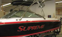 Great wake surf & wake board boat with very low hours. It is a 22.5ft long, pickle fork front bow rider with storage under all three seats and left + right ballast tanks. Comes with a 1200 watt stereo and four bullet style tower mounted speakers as well