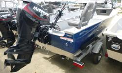 Boat/Motor/Trailer package! Ready to fish! This Lund 1600 Fury Tiller comes complete with a 40 horsepower Evinrude outboard and Shoreland'r galvanized bunk trailer. Complete vinyl floor, bow trolling motor harness w/plug, mooring cover, and more! Boat