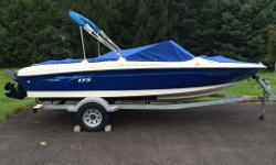 2006 Bayliner 175 BowRider, Excellent condition, white and blue trim, very well maintained. Many Extras included - Bimini top , cover , stereo , new tube, 4 new life saver vests, new safety kit ,new cockpit and bow covers, depth finder, seats 7