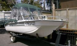 Boat and motor in perfect running condition. Boat fibreglass. Freshly painted 2 years ago, very clean and runs great!!! Canopy and safety equipment included!! No time to enjoy! Please call Terry!