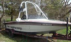 "1986 Supra Comp TS6m Ski Boat, inboard 240 HP with 351 Ford Pleasure Craft Marine Engine and 1/1 Direct Drive Transmission. Fiberglass/Kevlar, length (less platform) is 19'7"", seats 6 passengers. Interior vinyl in good condition.Comes with tower (alone"