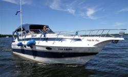 Year: 1989 Price: $16,500.00 Located: Home Dock, Ennismore, Buckhorn Lake Hull Material: Fiberglass Engine/Fuel Type: Twin I/O's Gas Reg. No. 31E18696 Name on Boat: Seas the Day Dimensions: LOA: 33 Ft Beam: 10 Ft 8 in Draft: 3 ft 6 in (when in down